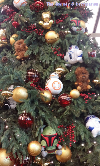 A close-up of the Christmas tree